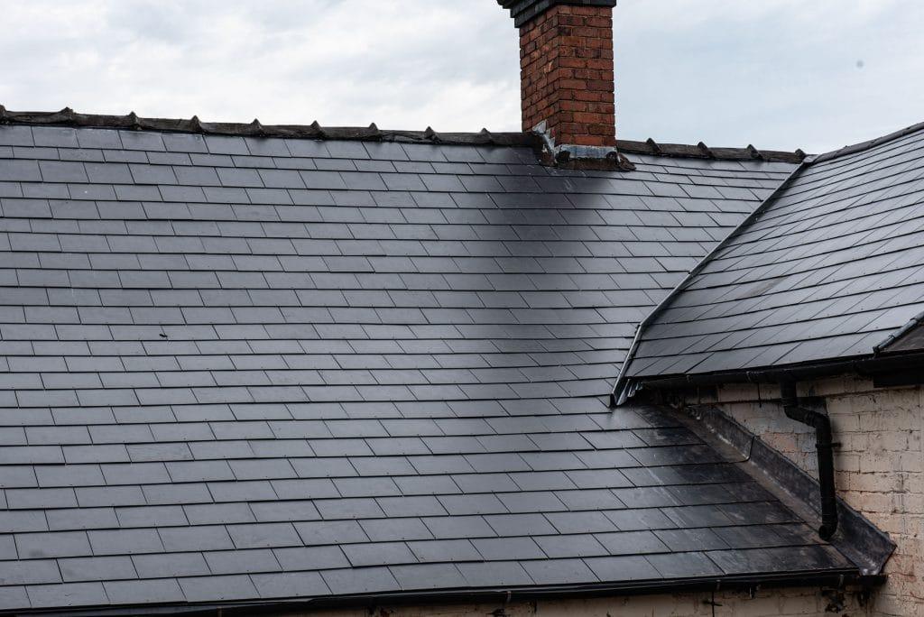 black tiled roof